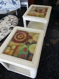 Here is an upcycled set of 80's style glass top end tables which have been distressed and have a mixed media 16x20 piece of one-of-a-kind art shadowboxed under the glass. A great new look... that Just  repurposed look.