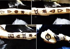 These symbols lining this wand are:  The Pentagram  Sacred Circle (or medicine wheel)  Earth Element  Air Element  Fire Element  Water Element  Elven Star (Magic Energy)  The Goddess  Witch's Sign (a mark for ritual tools)  The Magic Circle