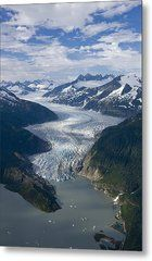 Aerial View Of Mendenhall Glacier Metal Print by John Hyde