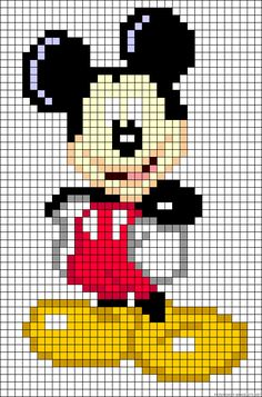 Discover thousands of images about also could use for cross stitch too.Mickey Mouse perler bead pattern by alissa Hama Beads Patterns, Loom Patterns, Beading Patterns, Loom Beading, Perler Bead Art, Perler Beads, Beaded Cross Stitch, Cross Stitch Embroidery, Pixel Art Mickey