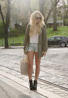 Shop this look on Kaleidoscope (jacket, tshirt, shorts, shoes, tote, sunglasses)  http://kalei.do/W66uUTrHSwfkKx6J