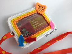 Crochet ID Cardholder White Yellow and Orange with by kim0511