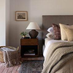 Upholstered Platform Bed, Upholstered Furniture, Bedroom Furniture, Tall Headboard, Interior And Exterior, Interior Design, Bedside Storage, Amber Interiors, House Interiors