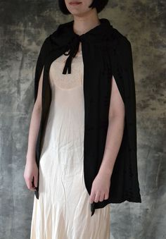 Black Cape Edwardian Era Textured Silk. $145.00, via Etsy.