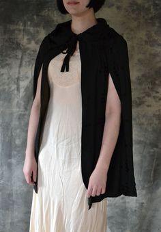 Black Cape Edwardian Era Textured Silk. $145.00, via Etsy.