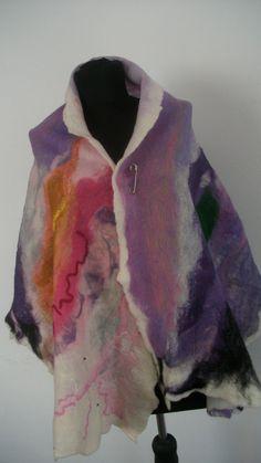 Felted big shawl big wrap felted scarf handmade by FeltWorld51