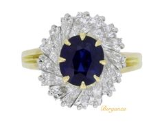 Oscar Heyman Brothers sapphire and diamond ballerina ring, circa 1970.