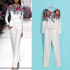 New-Vintage-Women-White-Round-Neck-Long-Sleeve-Floral-Pattern-Slim-Jumpsuit-Pant