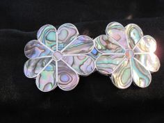 Hair Barrette Silver Plated with Abalone Double Flower Design