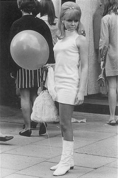 "• Miniskirts years 60s 70s • Girls sixties + seventies images gallery minidress pictures.  The dress, the ""go go"" boots, hair, makeup - all so 60's - love it!"