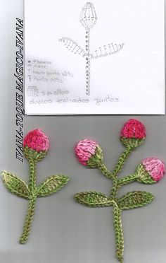 Flores..pretty rosebuds on stems with leaves to crochet!