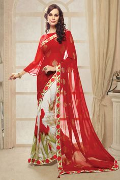 Red Designer Party Wear Sarees From Onlinesareessshopping.com