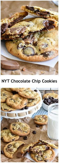 New York Times Chocolate Chip Cookies - Dessert - Cookies Recipes Cookie Desserts, Just Desserts, Cookie Recipes, Dessert Recipes, Yummy Recipes, Chocolate Peanut Butter, New York Times, Cookies Et Biscuits, Crack Crackers