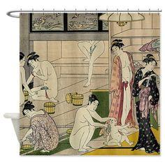 Torii Kiyonaga bathhouse women Shower Curtain by teyes - CafePress Art Vintage, Vintage Prints, Vintage World Maps, Japanese Art Prints, Japanese Drawings, Custom Shower Curtains, Fabric Shower Curtains, Edgar Degas, Samurai