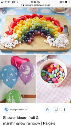 fruit & marshmallow rainbow food Cute for a unicorn party Rainbow Unicorn Party, Rainbow Birthday Party, Unicorn Birthday Parties, First Birthday Parties, 4th Birthday, Birthday Ideas, Rainbow Theme Baby Shower, Rainbow Baby, Unicorn Party Decor