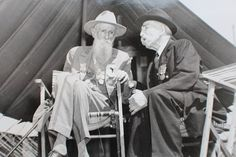 A Confederate and Union Veteran talking about the Civil War at the 1938 Gettysburg reunion.
