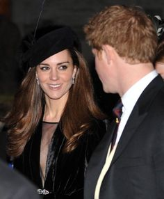 January 2011 - Kate Middleton shows off her engagement ring with Prince William at friend's wedding, Mr and Mrs Harry Aubrey-Fletcher, in Yorkshire. Kate & Prince Harry are all smiles as they walk together, they appear to get along well. Prince Harry And Kate, Prince William And Kate, William Kate, Kate Middleton Hats, Middleton Family, Duke And Duchess, Duchess Of Cambridge, Kate And Pippa, Kate Dress