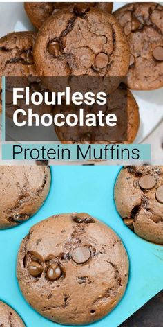 Flourless Chocolate Protein Muffins These Chocolate Flourless Protein Muffins are naturally gluten free and perfect for easy meal prep! Chocolate Protein Muffins, Protein Cookies, Flourless Muffins, Keto Cookies, Protein Cake, Keto Biscuits, Chocolate Protein Powder, Oatmeal Cookies, Vegetarian Recipes