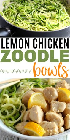 Lemon Chicken Zoodle Bowls are flavorful and delicious. These make a healthy lunch or dinner that is packed full of protein and veggies. This is also a healthy recipe for people on the myWW program. Healthy Chicken Recipes, Real Food Recipes, Sweets Recipes, Dinner Recipes, Pasta Recipes, Appetizer Recipes, Yummy Recipes, Healthy Muffin Recipes, Low Carb Recipes