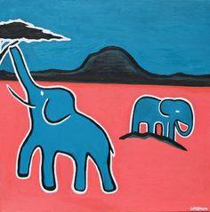 "Saatchi Art Artist Eric Urbain; Painting, ""Namib Elephants"" #art"