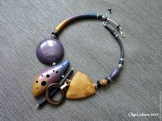 Купить Колье из полимерной глины - тёмно-фиолетовый, синий, колье, колье с камнями, стильное украшение