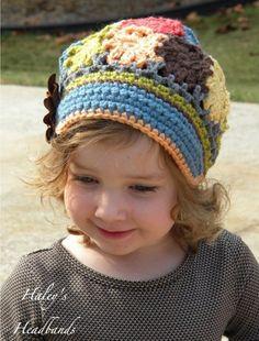 M2M Matilda Jane - Field Trip Patchwork Crochet Brimmed Slouchy Newsboy Beanie Girls Hat