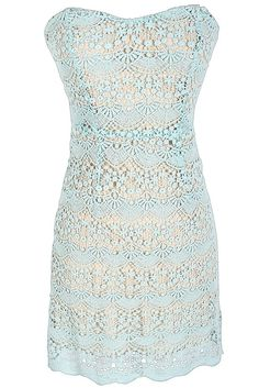 Mint Crochet Lace Strapless Dress by Ark and Co