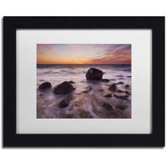 Trademark Fine Art 'Silky Water Rocks' Canvas Art by Michael Blanchette Photography, White Matte, Black Frame, Size: 11 x 14, Assorted