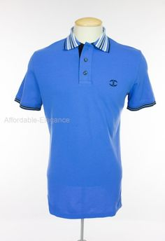 JUST CAVALLI Mens Polo Shirt M Blue White Cotton Stretch Waffle Short Sleeve #JustCavalli #PoloRugby