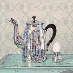 deco breakfast coffee pot egg still life painting watercolour cori lee marvin