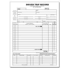 truck driver trip record bill template templates invoice template report template card