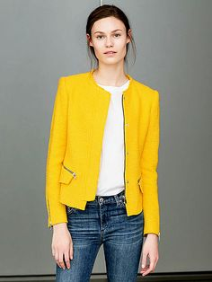 Love the yellow! The Best Splurges and Steals for Spring | STEAL: ZARA JACKET |  the perfect shade of yellow (somewhere between lemon and marigold), it has cool details like an unfinished hem and edgy zippers. Plus, the length and silhouette pair well everything from jeans to dresses.Buy It! Multicolor woven fabric jacket, zara.com, $139