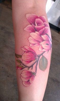 Adorable pink flowers tattoo - Tattooimages.biz