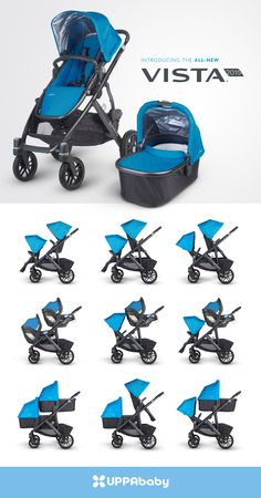 2015 UPPAbaby Vista Stroller (shown in Georgie Blue) features multiple seating configurations making it a true double stroller. The Rumble Seat is bigger and better and the stroller can take 2 bassinets or car seats too.