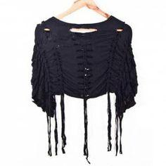 $12.85 Hollow Out Fringe Embellished Cotton Blend Solid Color Short T-Shirt For Women