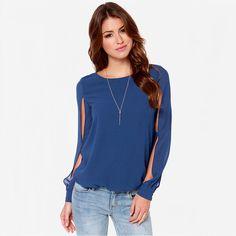 Aliexpress.com: Comprar 2015 de calidad superior ver a través de Blusas Femininas mujeres Sheer blusa de moda camisetas de manga larga Hollow Out blusa de la gasa más el tamaño de blusas blusa fiable proveedores en NewConcept