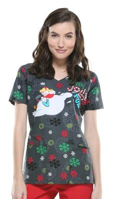 d3ab332e21a Cherokee Tooniforms Jolly Frosty Fun V-Neck Top - christmas holiday scrub  top Medical Uniforms