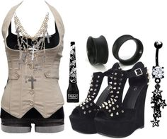 """Untitled #487"" by forever-ur-sickest-hoe ❤ liked on Polyvore ---- I dont like the shoe but I love the rest!!"