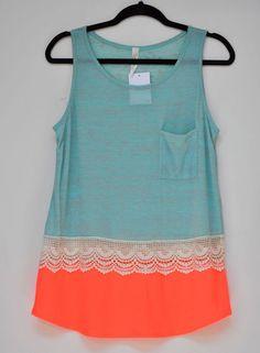 Women Tank Top Love Zoe Embellish Crochet, Green & Orange A Pocket Front size L #LoveZoe #TankCami #Casual