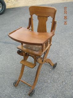 ANTIQUE PAT. DATED 1904  UP & DOWN  BABY'S  HIGH  CHAIR - WALKER - STROLLER High Chairs, Fig, Dining Chairs, Sugar, Dinner, Antiques, Baby, Furniture, Vintage