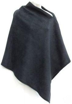 Jet Black Fleece Cape Pullover Asymmetric Cozy Poncho