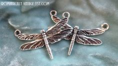 Silver Dragonfly Pendant Enchanted Garden by RomanticallyVintage, $3.50