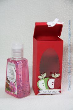 Little mini hand sanitizer gift box picture and tutorial. - multiple uses for the box actually. 3d Paper Crafts, Paper Gifts, Diy Crafts, Foam Crafts, Paper Crafting, Paper Art, Little Presents, Back To School Gifts, Craft Show Ideas
