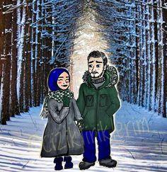 Couple snow hijab cartoon drawing