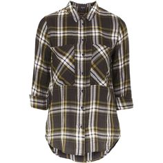 TOPSHOP TALL Oversized Check Shirt (€56) ❤ liked on Polyvore featuring tops, shirts, flannel, olive, olive green shirt, black oversized shirt, checkered shirt, black top and oversized flannel shirt