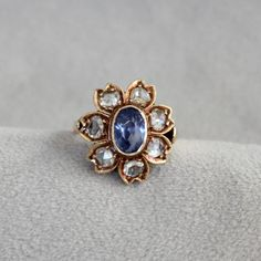 Rose Cut Diamond Blue Stone Flower Ring in 14k Yellow Gold