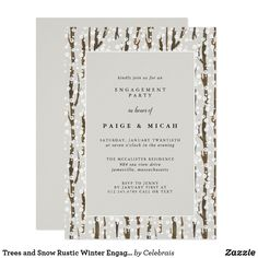 6c1cab86226 Trees and Snow Rustic Winter Engagement Party Invitation Elegant and chic  winter engagement party invitation features rustic brown trees dappled in  white ...