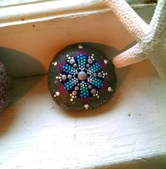 Hand Painted Stone ~ Dot Art Snowflake Painted Rock ~ Silver Blue Magenta Home Decor Ornament ~ Unique Gift Ideas ~ Mandala Design by P4MirandaPitrone on Etsy