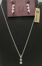 NEW PREMIER DESIGNS TIME OUT LADIES SILVERTONE CZ EARRING NECKLACE SET NWT