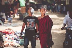 An Odd Couple - Brothers? Taken in a marketplace in Bagan